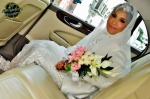 The bride admitted to feeling extremely nervous before she left the car...