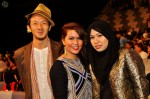 """Zack He, Nadia Rosmaly and Sarah Ismail of Seyra, who were nominated in the Best Singapore Song category for their song """"Jauh""""..."""