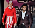 Shila Amzah appearing on stage with talented fashion designer Raffiey Nasir...