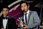 Cakra Khan collecting his first award of the night for Best Vocal in a Song (New Male Artiste)...