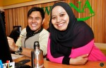 Hafeez with Siti Zalinah Adam, Assistant Manager - Mediacorp Suria (Channel Branding & Promotions)...