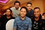 Irwan Azly from Tujuhband (centre) flanked by (from left): Ryzal (Audionauts), Syaheed (manager of artistes under Bedsty Music Group), Syarif SleeQ and Jamiel Said...