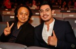 Anugerah Industri Muzik's boss and Nova Music (M) Sdn Bhd's Managing Director, Mr. Rosmin Hashim seated along with Sabhi Saddi, nominee for Artis Terbaik (Lelaki) / Best Male Artiste for his song Cinta Sesungguhnya...