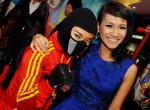 Izyan Mellyna seen here with the film mascot...