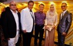 From right: Jeff Catz, Sofia Arissa Arman (singer of Belah Hati theme song), Abdullah Ahmad, A. Mahadi and Nasir from Mediacorp Eaglevision...