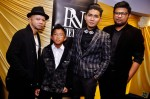 From left: Tukangkata, his son Ilyas, Reyza Hamizan and lyricist Hidayat Nordin...