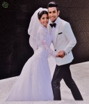 This cutout image of the newlyweds greeted guests at the lobby of the event venue's building...